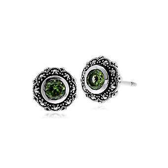 Gemondo Sterling Silver Peridot & Marcasite Art Nouveau Floral Stud Earrings