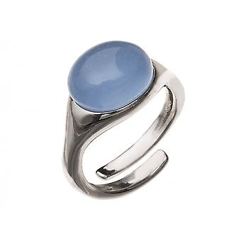 Gemshine - ladies - ring size adjustable - 10 mm - 925 Silver - chalcedony - blue-