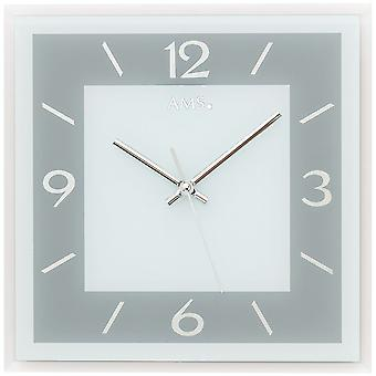 AMS 9573 wall clock quartz analog grey rectangular square with glass quietly without ticking
