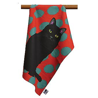 Leslie Gerry Black Cat Design Tea Towel