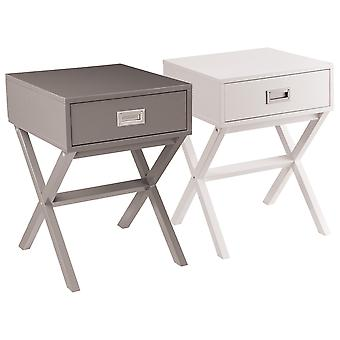 Charles Bentley Retro Side Table / Bedside Table MDF One Drawer Bedroom Furniture  - Available In 2 Colours