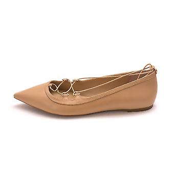 MICHAEL Michael Kors Womens Tabby Leather Pointed Toe Ankle Wrap Ballet Flats