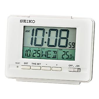 Seiko QHL078W LCD Alarm Clock with Calendar and Thermometer - White