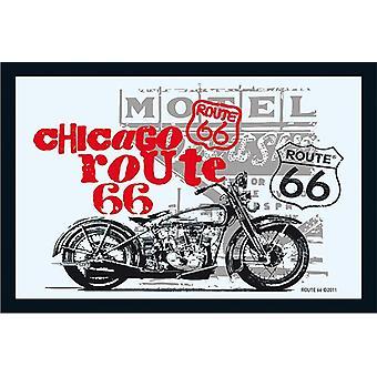 Route 66 Spiegel Chicago Bike  Wandspiegel mit schwarzer Kunststoffrahmung in Holzoptik.