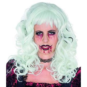 Enya blanco peluca de pelo largo con rizos peluca Halloween Carnaval
