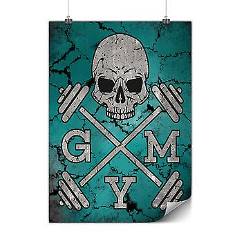 Matte or Glossy Poster with Skull Gym Fitness Sport | Wellcoda | *y869
