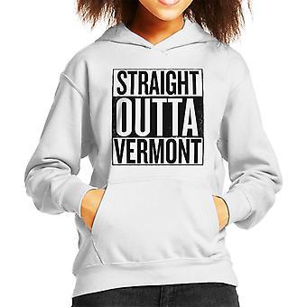 Black Text Straight Outta Vermont US States Kid's Hooded Sweatshirt