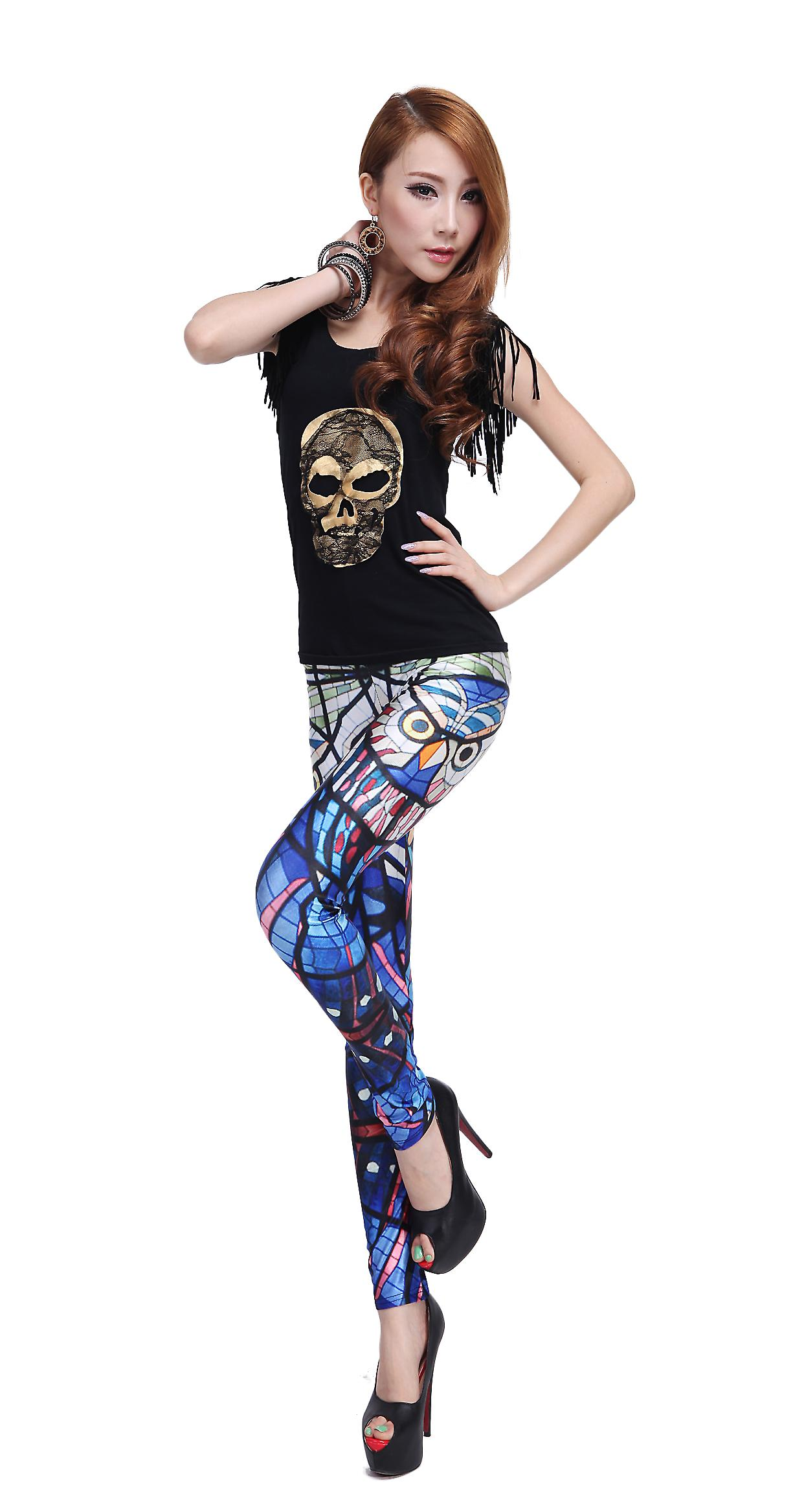Waooh - Fashion - Legging stained glass pattern and owl