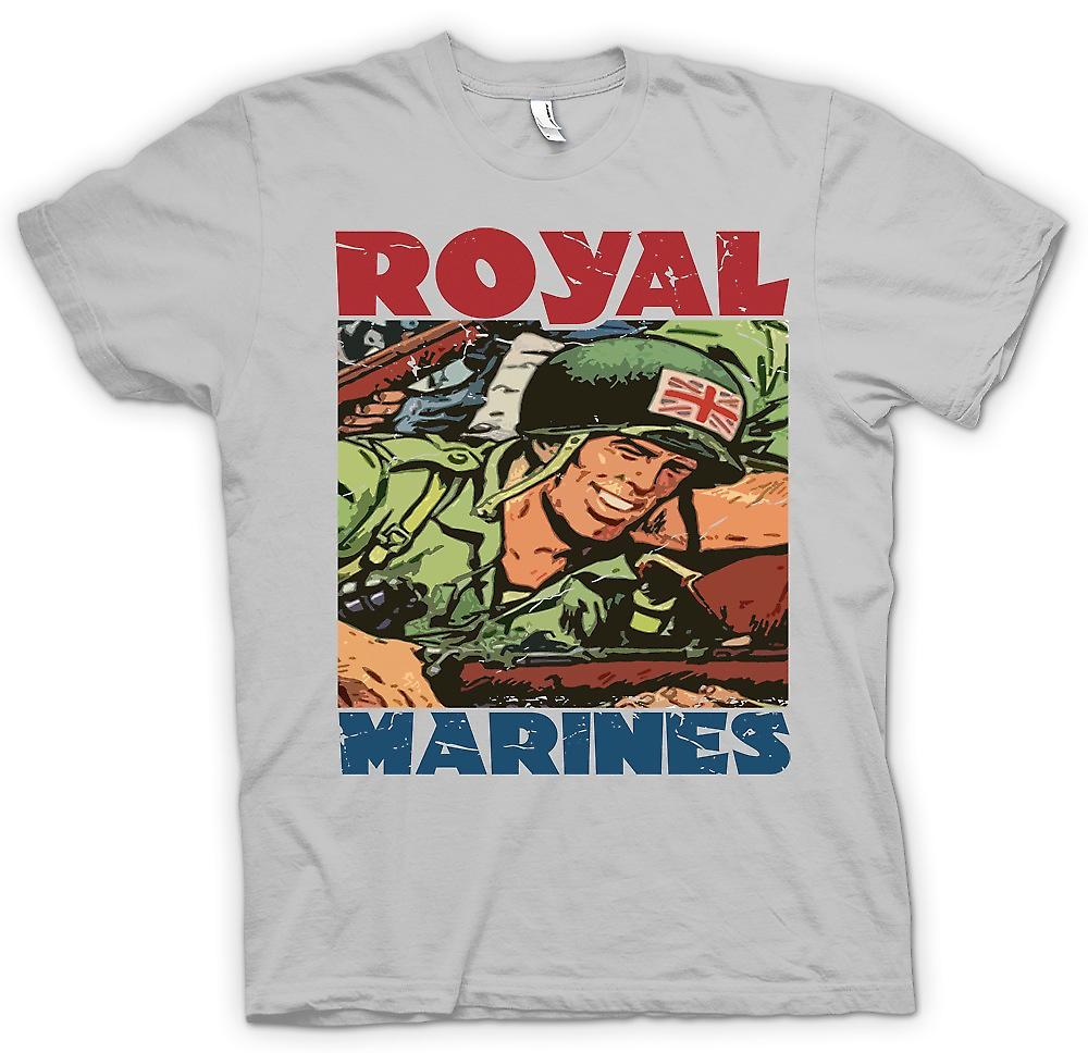 Mens T-shirt - Royal Marines Cartoon - Union Jack Jackson