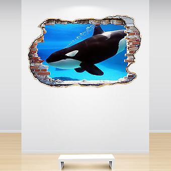 全彩奥卡鲸粉碎墙3D效果墙贴纸