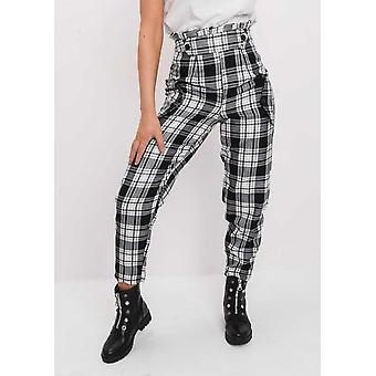 Compruebe Paperbag alto de talle a medida negro pantalones