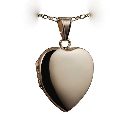 9ct Gold 24x20mm plain heart shaped Locket with a belcher Chain 16 inches Only Suitable for Children
