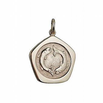 9ct Gold 21mm five sided Pisces Zodiac Pendant