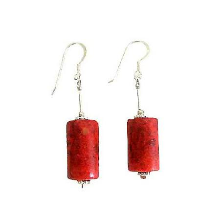 Coral Barrel Jeawelry 20mm Coral Barrel Earrings Sterling Silver Tube