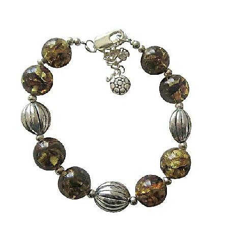 Olivine Amber Resin Beaded Bracelet w/ Rhodium Traditional Bracelet