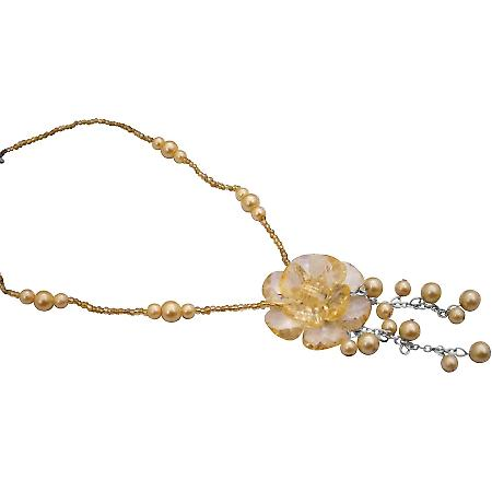 Flower Dangling Necklace Gift Champagne Pearls Golden Beads Necklace