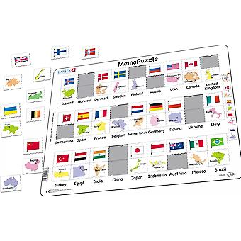 Flags and Capitals MemoPuzzle - Frame/Board Jigsaw Puzzle 29cm x 37cm (LRS GP6-GB)