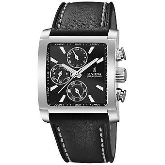Festina | Cronógrafo de aço inoxidável de Mens | Preto pulseira de couro | Relógio de F20424/3