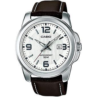 Casio Collection MTP-1314PL-7AVEF, Herren Armbanduhr, weiß (weiß/braun)