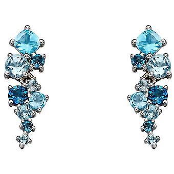 Elements Gold Scattered Long Diamond Earrings - Blue/Silver