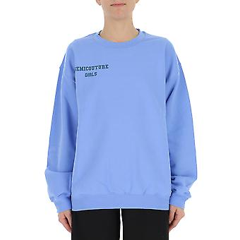 Semi-couture Cristina  Light Blue Cotton Sweatshirt