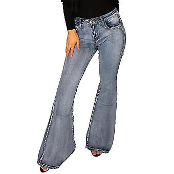 70s Style Bell-bottom Faded Wide Flared Jeans