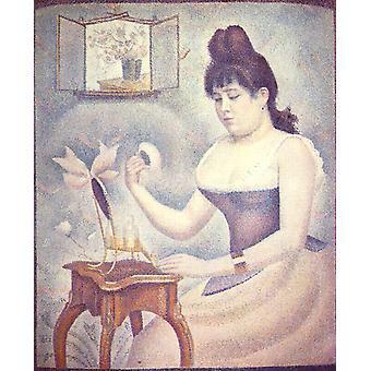 Ung kvinne Powdering selv, Georges Seurat, 50x40cm