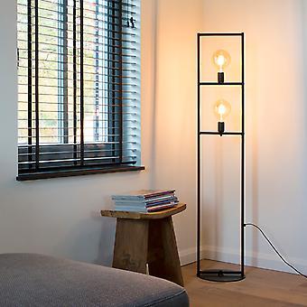 QAZQA lâmpada de assoalho moderna 2 preto - gaiola simples