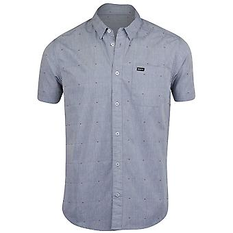 RVCA Mens VA Dobby SS Button Up Shirt - Inmate Blue
