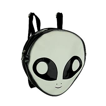 Black and White Glow In the Dark Alien Head Backpack Small