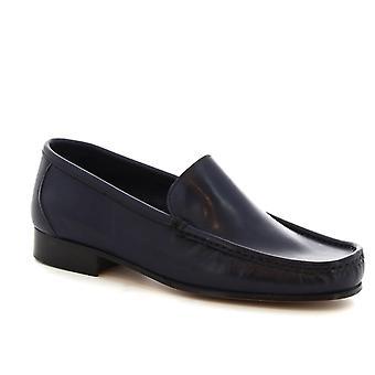 Leonardo Shoes Men's handmade square toe slip-on loafers in blue calf leather