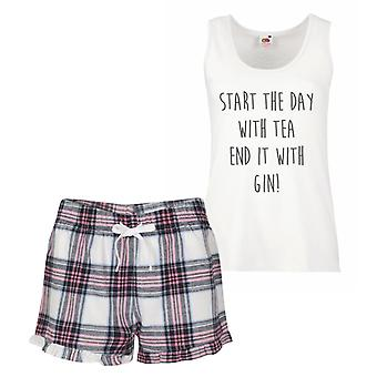 Start The Day With Tea End It With Gin Pink Tartan Pyjamas