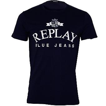 Replay Vintage Jeans Logo Crew-Neck T-Shirt, Navy