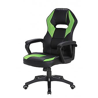 REBECCA Furniture Chair Game swivel armchair black green Nylon faux leather wheels