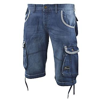 Mens Cargo shorts Crosshatch denim bekämpa sommaren kort Newberg