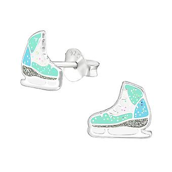 Ice Skating Shoes - 925 Sterling Silver Colourful Ear Studs - W38576X