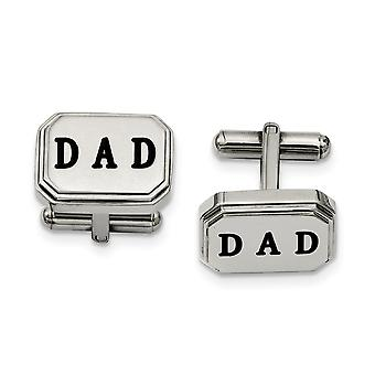 Stainless Steel Enamel Polished Dad Cuff Links