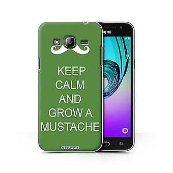 STUFF4 Case/Cover for Samsung Galaxy J3/Grow a Mustache/Green/Keep Calm