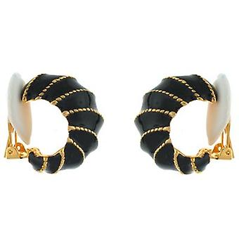 Kenneth Jay Lane Black Enamel & Gold Plated Rope Stripe Hoop Clip On Earrings