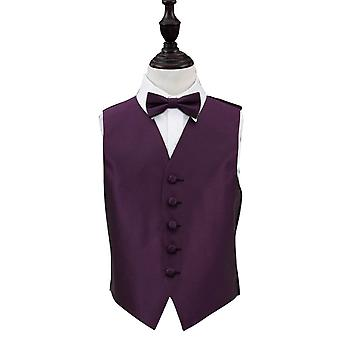 Boy's Cadbury Purple Solid Check Wedding Waistcoat & Bow Tie Set