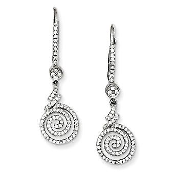 Sterling Silver and CZ Swirl Leverback Earrings