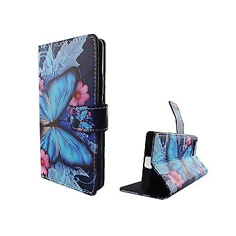 Mobile case bag for mobile phone Sony Xperia X compact blue butterfly