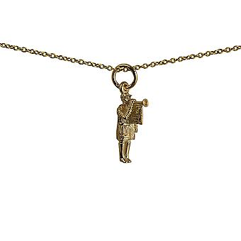 9ct Gold 16x7mm Herald with Trumpet Pendant with a cable Chain 16 inches Only Suitable for Children