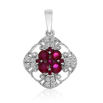 14k White Gold Ruby and Diamond Filigree Pendant with 18