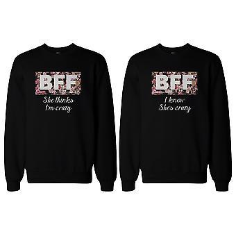 BFF matchande tröja galen BFF blommig Print tröjor för bästa vänner