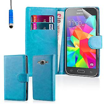 Book wallet case + stylus for Samsung Galaxy Grand Prime G530 - Light Blue