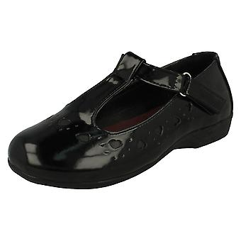 Girls Spot On Heart Detail T-Bar School Shoes H2336