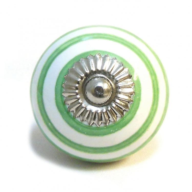 White / Green Stripes Ceramic Cupboard Knob