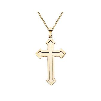 Cross Pendant Necklace in 14K White and Yellow Gold with Chain
