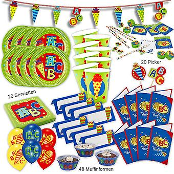 Back to school ABC school party set XL 159-teilig for 8 guests at school party decoration party package